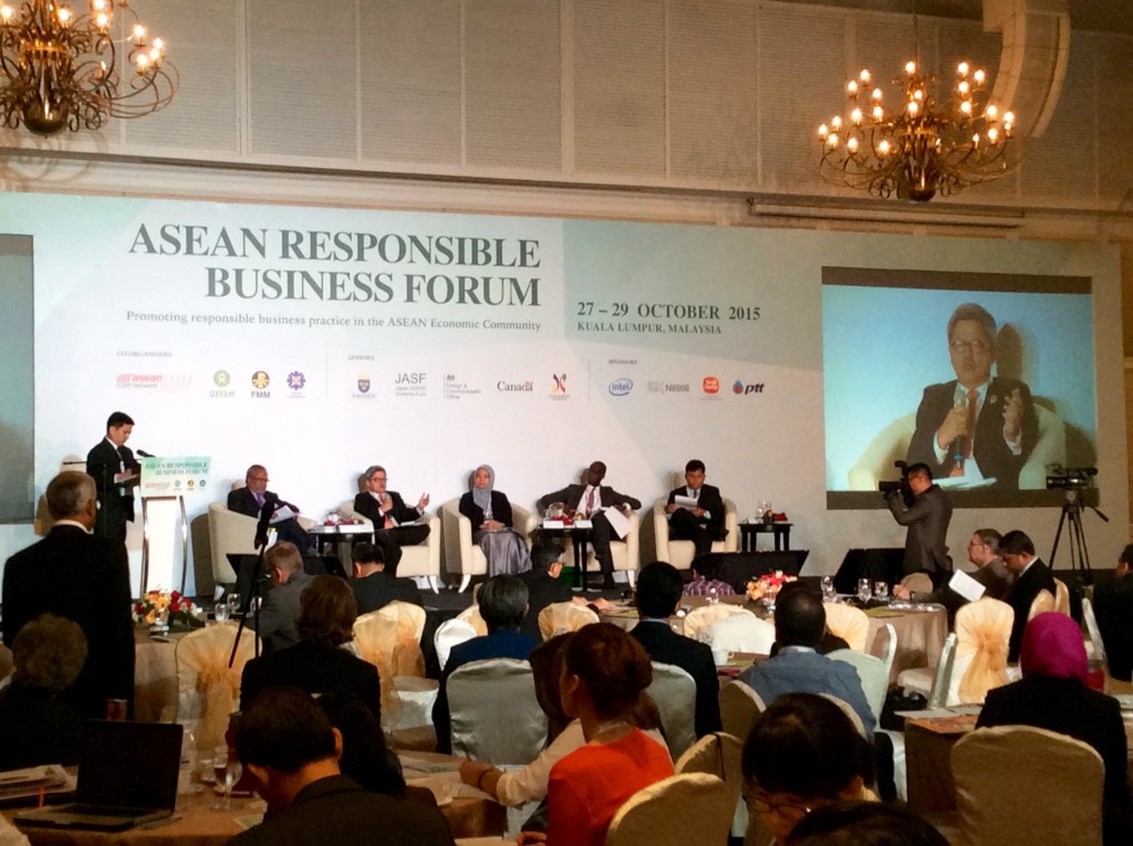 A panel on promoting business responsibility to protect human rights comprised of  Tan Sri Dr Muhammad Shafee Abdullah (Chair of AICHR), Rafendi Djamin (AICHR Indonesia), Dato' Dr. Aishah Bidin (SUHAKAM), Michael K. Addo (UN Working Group on BHR), and Suon Bunsak (Cambodian Human Rights Action Committee).